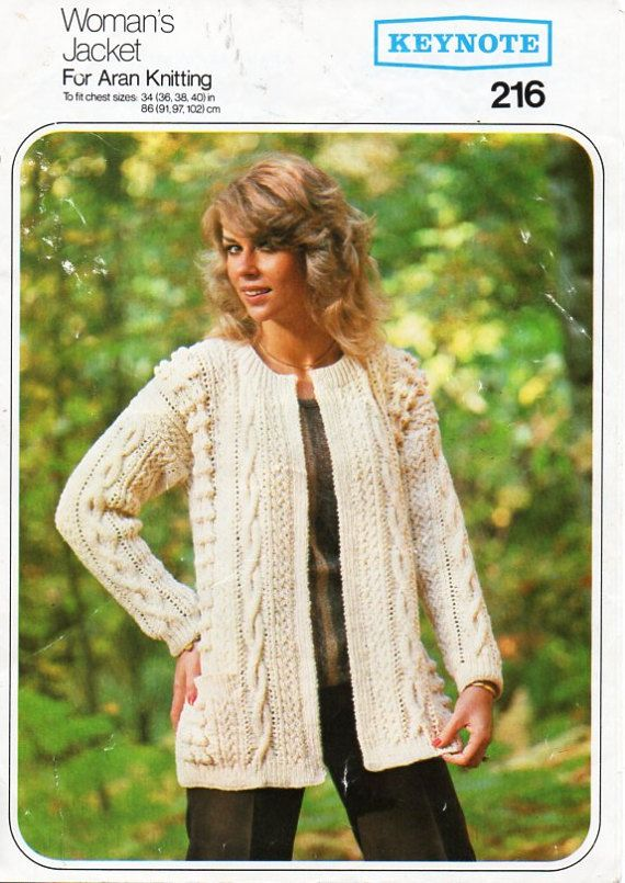 vintage womens aran jacket knitting pattern pdf ladies edge to edge ...