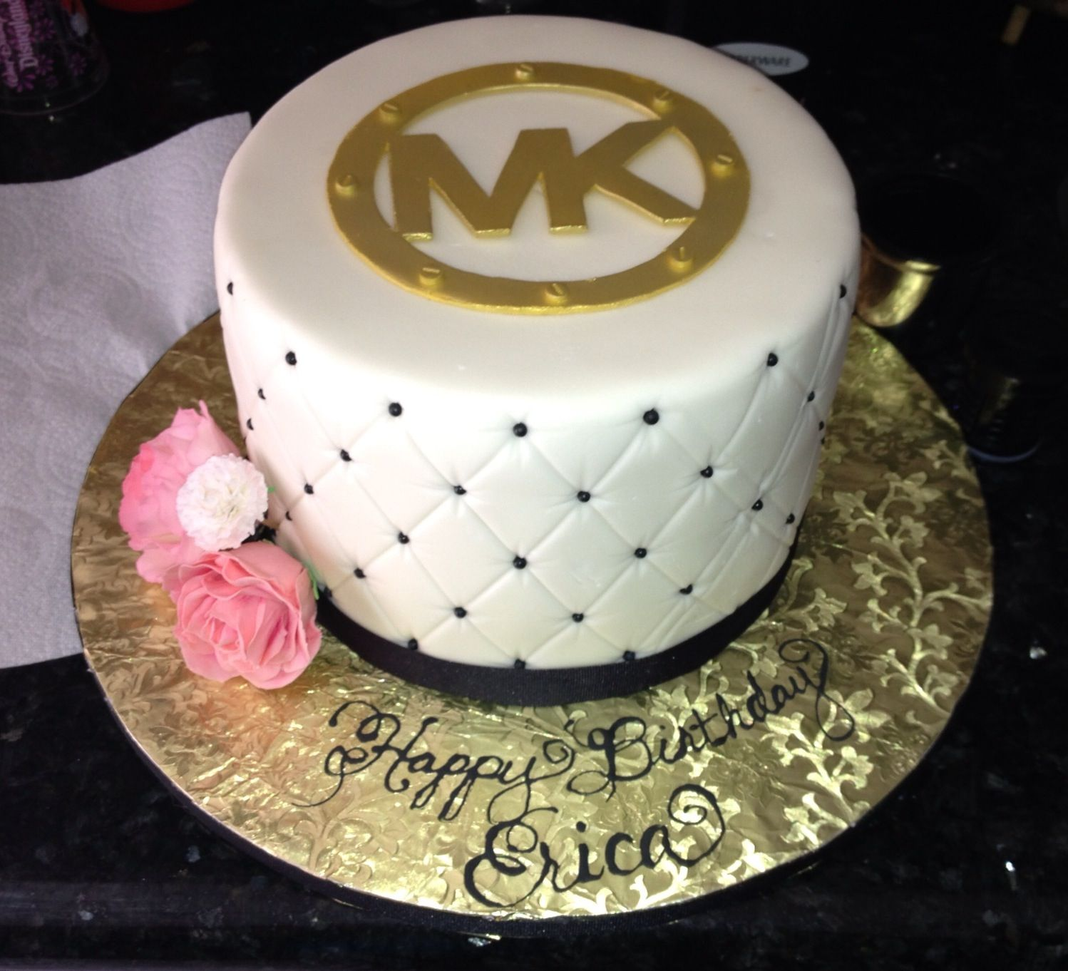 Mk bags on Michael kors cake Quilted cake and Cake
