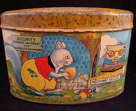 Early Tin Savings Bank ~ Squirrels & Chipmunks 1930