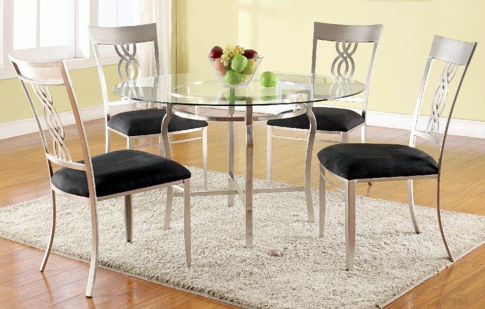 Chintaly Imports Angelina 5 Piece Dining Set Glass Round Dining Table Glass Dining Table Glass Dining Room Furniture