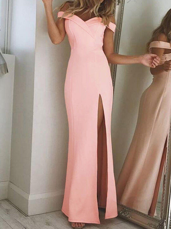 Elegant Sheath Off-The-Shoulder Side-Slit Long Prom Dresses  83431f997c2a