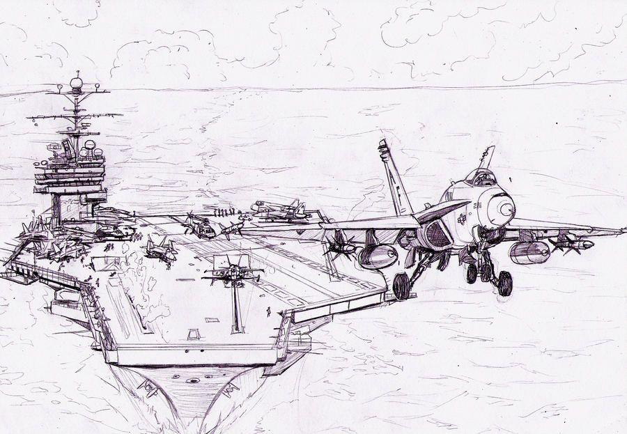 F18 Taking Off By Bidass Aircraft Art Military Drawings Aviation Art