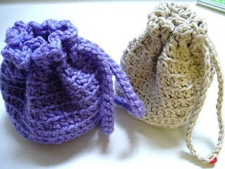 Simple Crocheted Stand Up Drawstring Bag Instructions