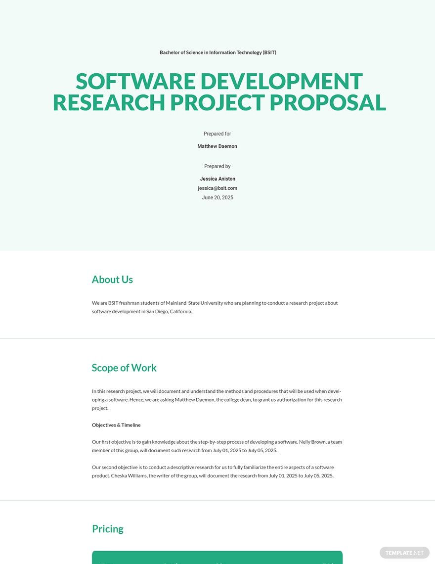 Research Project Proposal Template Word (DOC) Google