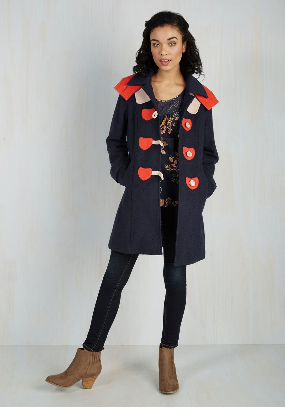 2a75812165 Sweet on You Coat. Wear your heart for all to see each time you layer with  this navy blue coat from Spanish brand Kling!  blue  modcloth