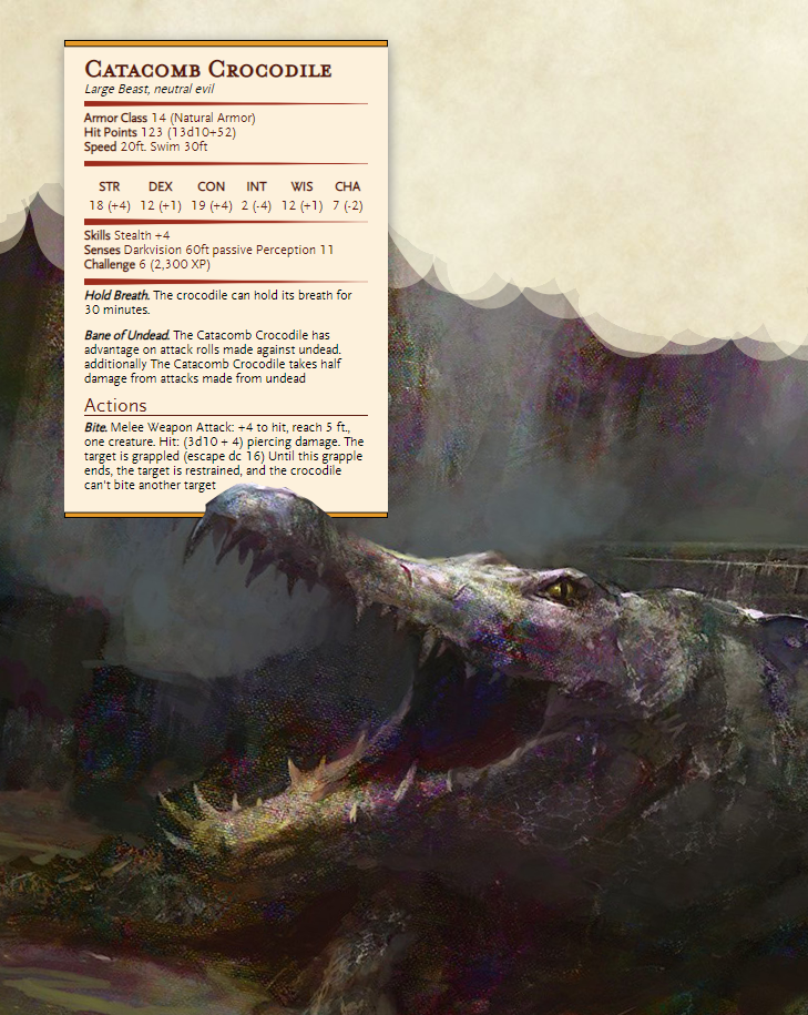 Catacomb Crocodile in 2020   D&d dungeons and dragons, Dungeons and dragons homebrew, Dnd dragons
