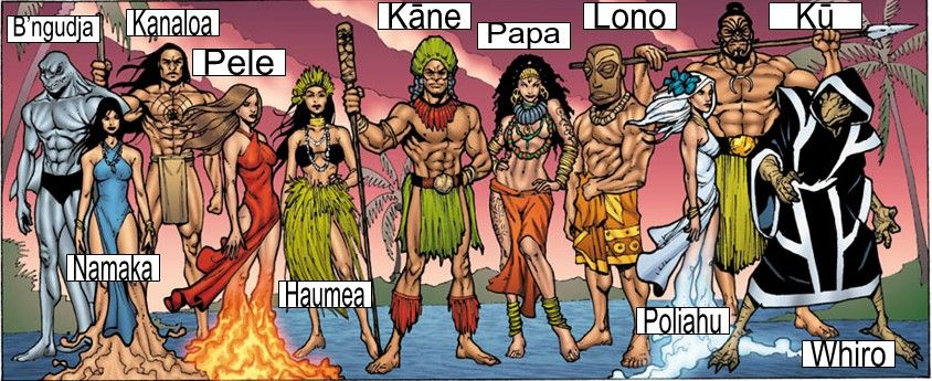 Gods of Hawaii: B'ngudja - Tiger Shark God. Namaka - The sea goddess & a water spirit. Kanaloa - God of the Underworld and a teacher of magic. Pele - Goddess of volcanoes. Haumea - Goddess of fertility. Kane - The god of procreation and was the leading god of the great gods. Papa - Creator goddess. Lono - God of fertility, agriculture, rainfall, music and also peace. Poliahu - The ice goddess. Ku - The god of war and the husband of the goddess Hina. Whiro - The lord of darkness.