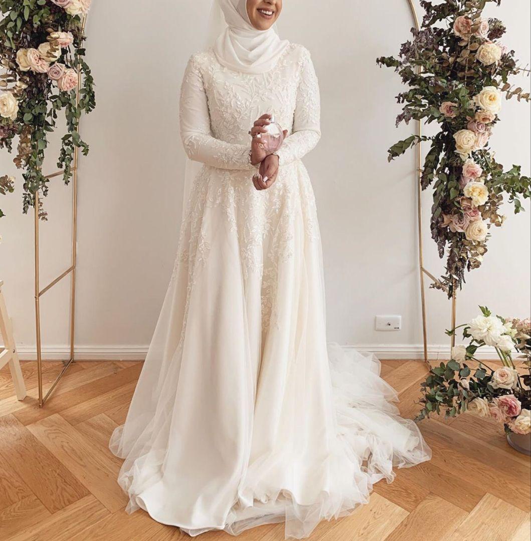 22 Ideas For Hijabi Wedding Dress Zahrah Rose Muslim Wedding Dresses Muslim Wedding Gown Muslim Wedding Dress Hijab Bride [ 1080 x 1059 Pixel ]