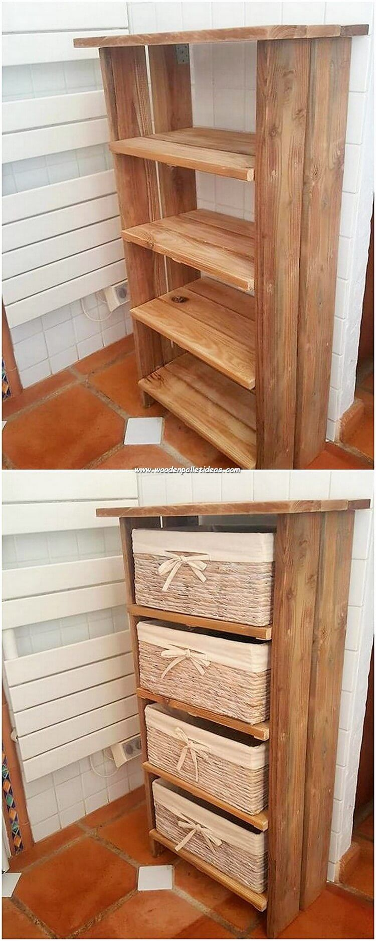 In Order To Make Your House Shelving Stand Design As Exciting Looking You Can Place The Wood Pallet Material In It With The Effect Of The Long Giant