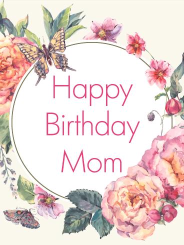 Classic Flower Birthday Card For Mom Birthday Greeting Cards By Davia Flower Birthday Cards Happy Birthday Mom Happy Birthday Flower