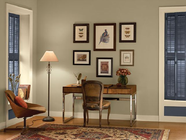 love this wall colour - goes with timber furniture, deep blue and