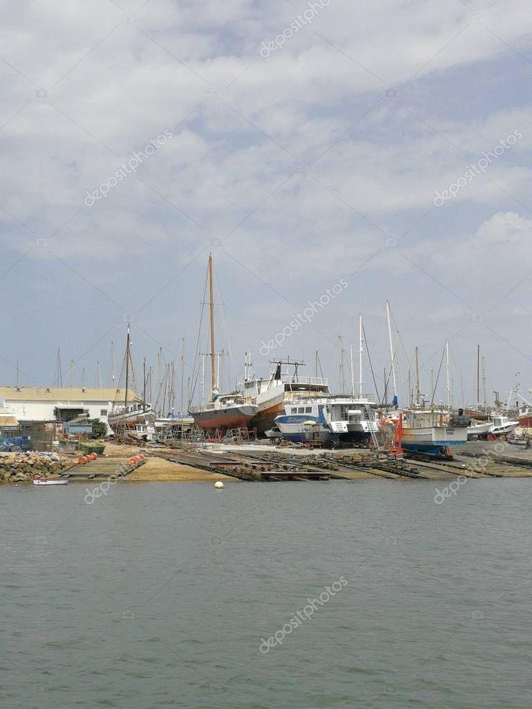 Anchored At Potato Harbor: Sailboats Anchored Olhao Harbor Purtugal 2017 Only