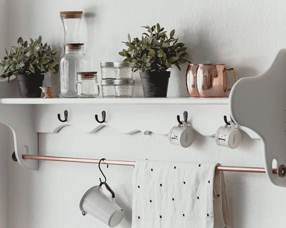 Vintage French Wall Shelf/ Pot Rack | Vintage shelf ...
