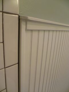 How to transition from bead board to tile in the bathroom bathroom pinterest shower for How to install tile board in the bathroom