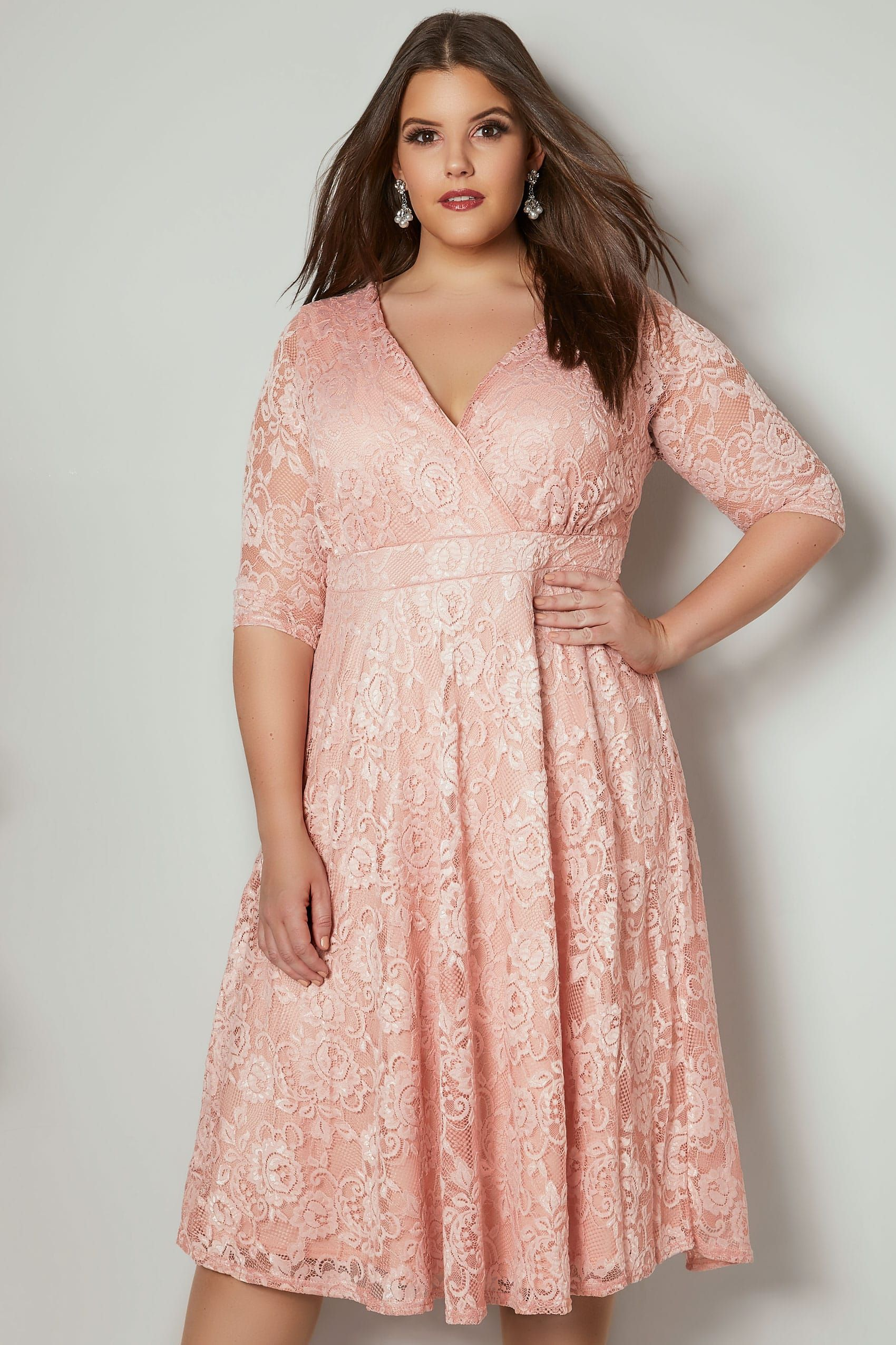 YOURS LONDON Pink Floral Lace Wrap Dress in 2019 | Plus size