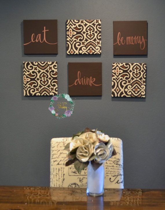 This Dark Brown And Bronze Chic Damask Pattern Wall Art Pack