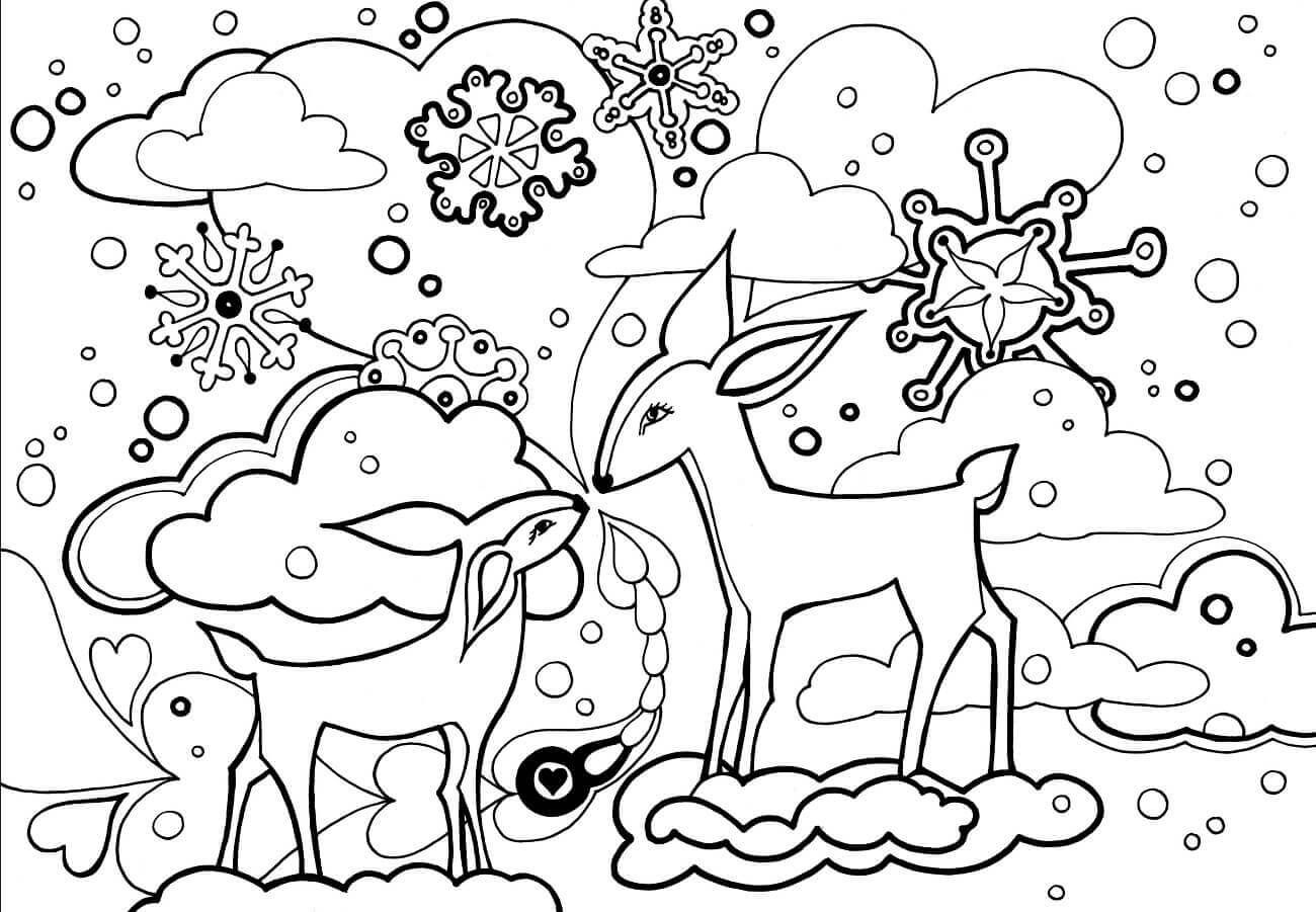 Beautiful Winter Coloring Pages Christmas Coloring Pages Animal Coloring Pages Coloring Pages Nature