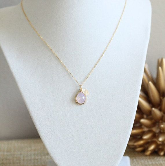 Photo of Personalized Teal Violet Opal Teardrop Pendent 14k Gold Silver Filled Pendant Necklace Bridesmaid Wedding Leaves Initials Monograms