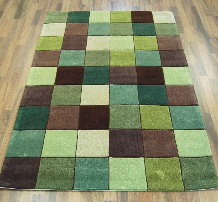 Eden Ed 10 Pixel Green Brown Rugs Modern Uk
