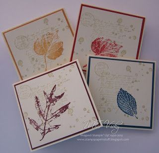 Stampin' Up!®: French Foliage ... set of 3X3 cards with a matted layer holding one stamped leaf ... lovely ...