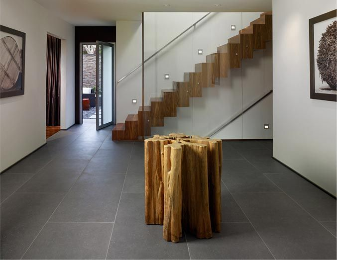 Best Glass Walled Stairway With Solid Wood Stairs Slim Metal 640 x 480