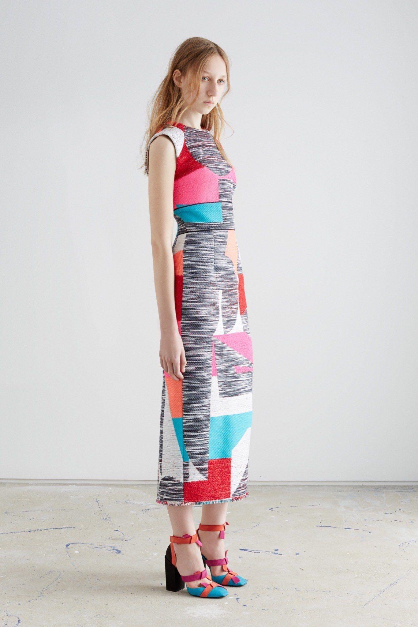 Roksanda   Resort 2016   03 Multicolored mottled sleeveless midi dress