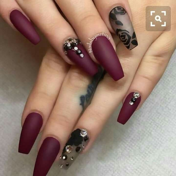 Pin by elpida magkou on pinterest nail nail art nails amazing black and maroon nail art design you can see that there are floral designs on the matte black polish while the rest of the nails are in deep dark prinsesfo Images