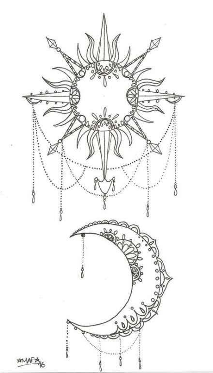 35 Ideas tattoo moon sun mandala coloring pages #mandala 35 Ideas tattoo moon sun mandala coloring pages #tattoo