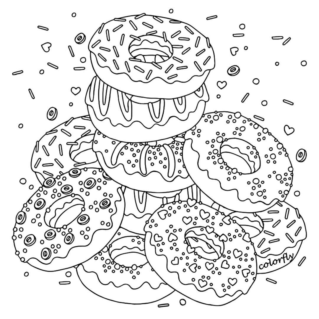 Colorfly Freebie Flavor The Donuts By Coloring Them Up What S Your Favorite One You Now Can Down Donut Coloring Page Cute Coloring Pages Coloring Pages