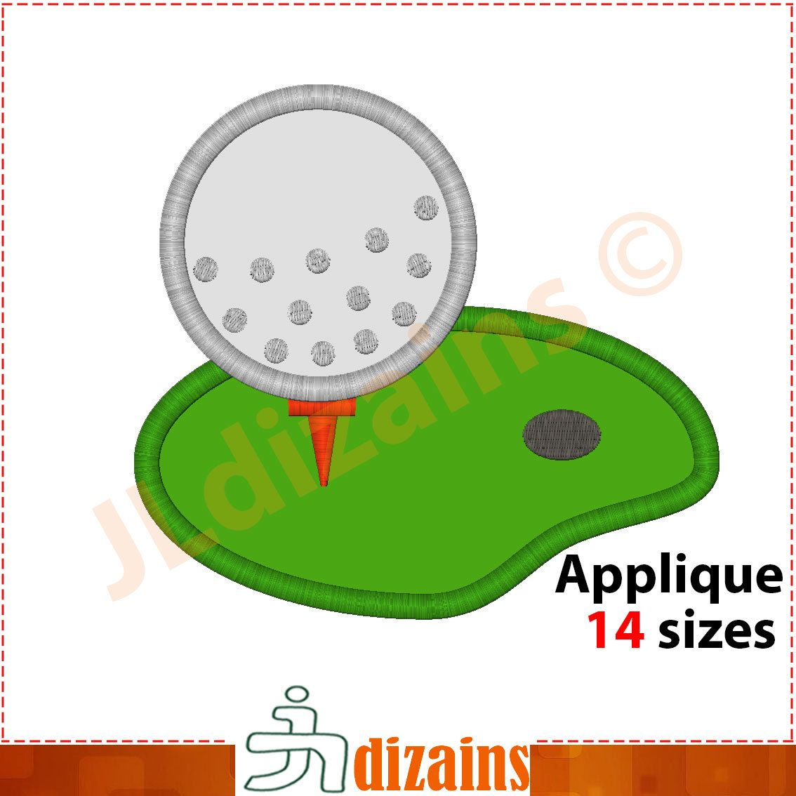 Golf Applique Design. Golf Embroidery Design. Golf Field