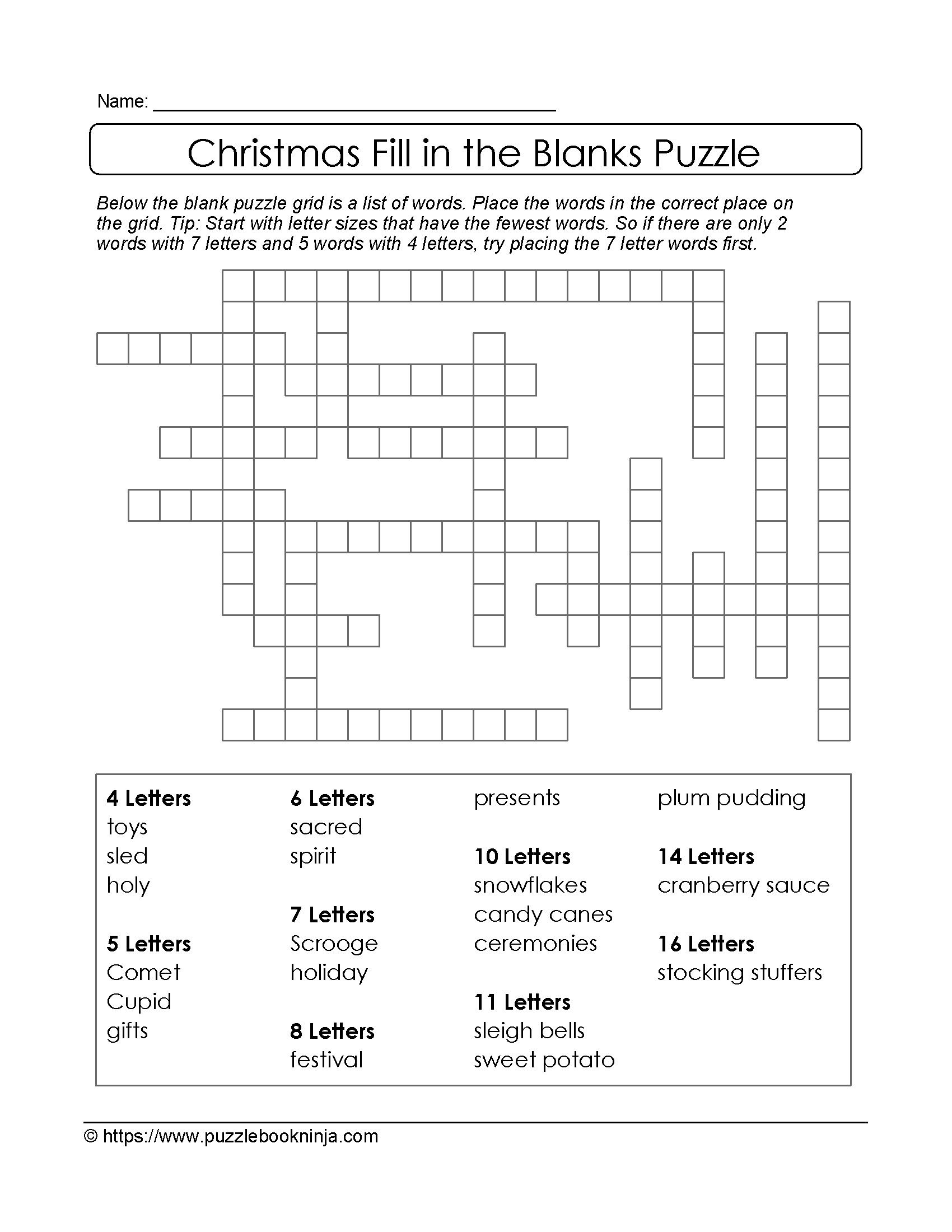 Puzzles To Print Free Xmas Theme Fill In The Blanks Puzzle