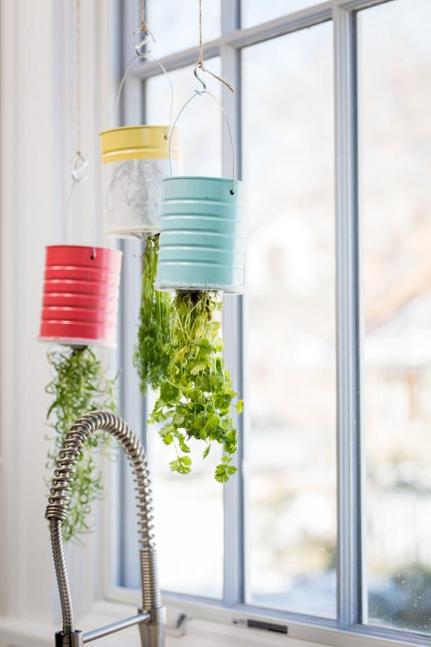 Upcycled + Upside Down: Hanging Herb Garden
