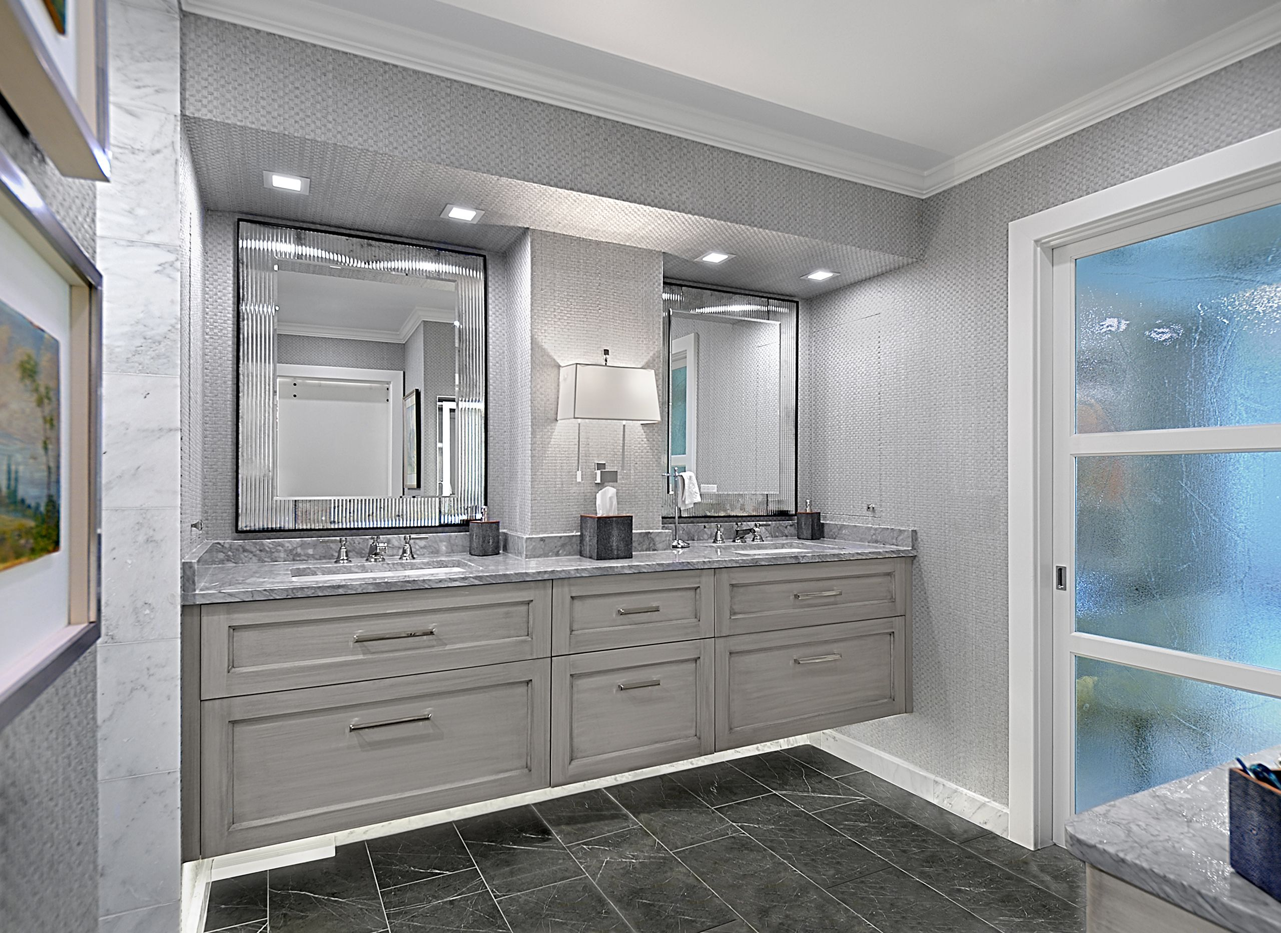 Modern Gray Bathroom Wilmette Il Bathroom Design Concepts Modern Bathroom Design Custom Bathroom Vanity [ 1866 x 2560 Pixel ]