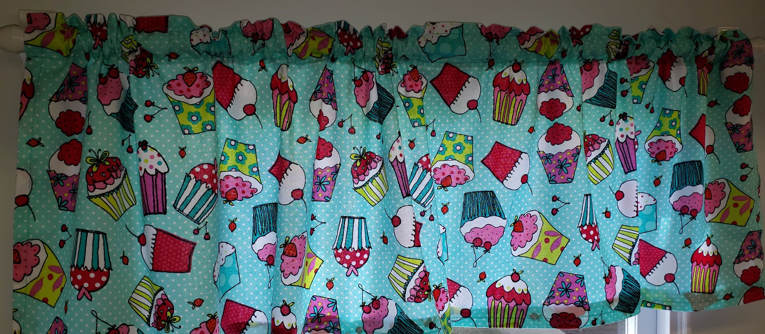 Teal Cupcake Curtains In 2020 Small Curtain Rods Teal Cupcakes Needful Things