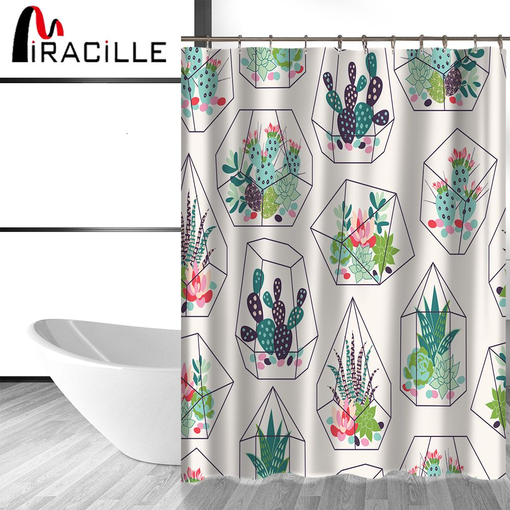 Miracille Green Potted Plants Cactus Succulents Print Shower
