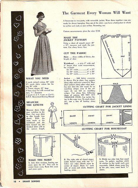 1950 Housecoat 1 | Pinterest | Für damen, Damen und Nähen
