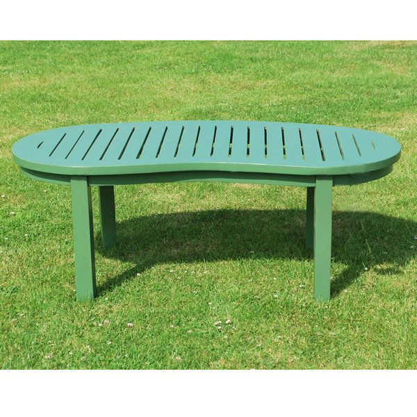 Green Painted Teak Wooden Curved Garden Coffee Table Garden Coffee Table Coffee Table Vintage Coffee Table