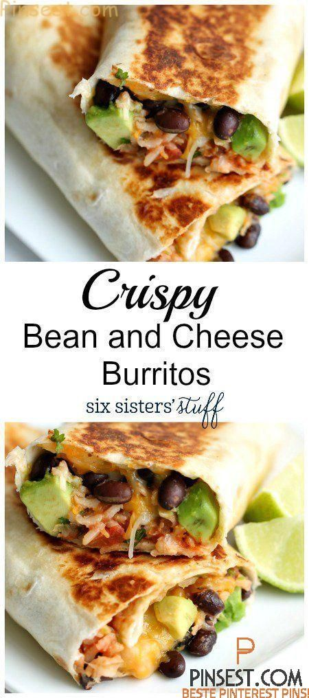 Burrito with refried beans and cheese Six girls crispy bean and cheese burrito | beans, cheese, cilantro, avocado and lime stuffed with Things, this is a quick and easy recipe win! Picky e...