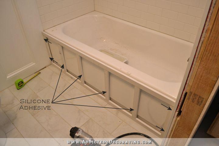 Diy Tub Skirt Decorative Panel For A Standard Soaking Tub Restroom Remodel Tub Remodel Diy Bathroom Remodel