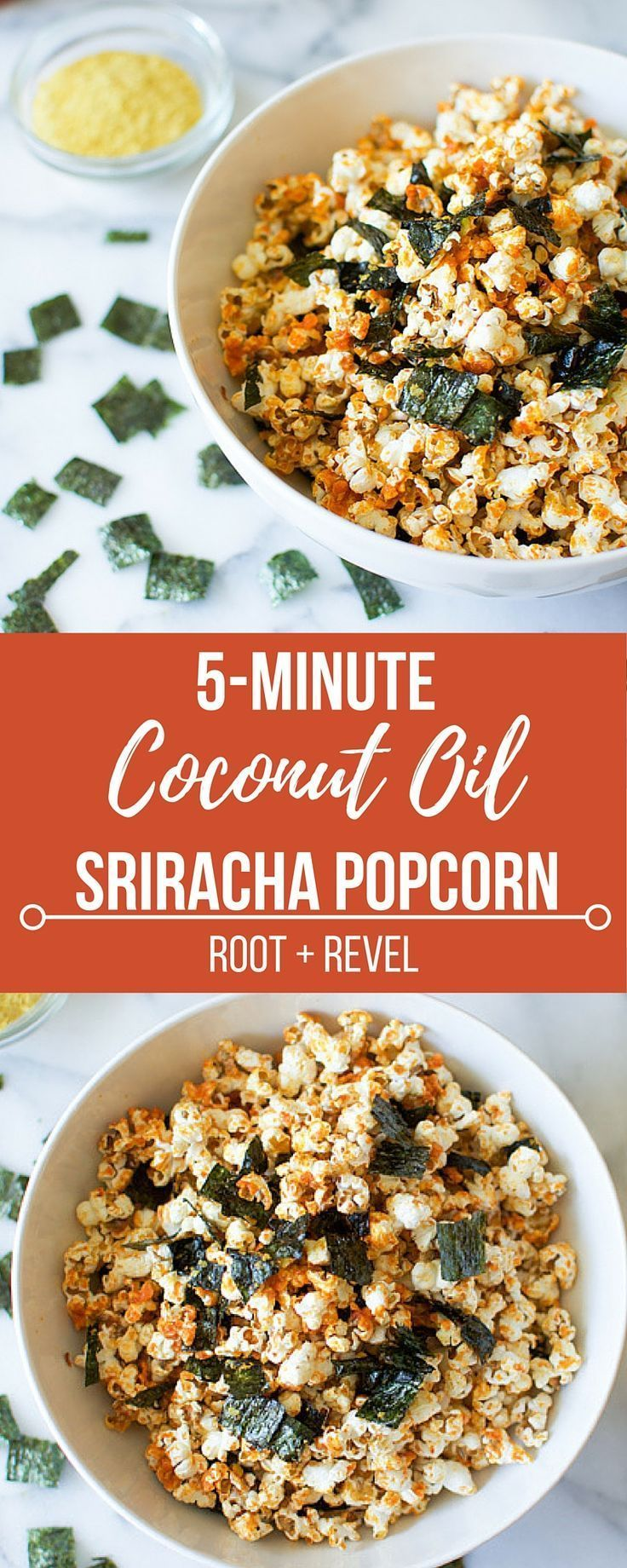 In 5 minutes, you can create a healthy, delicious snack full of nutrients. Coconut oil sriracha popcorn with nori is salty and spicy with lots of umami.