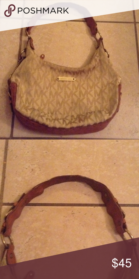 Auth Michael kors monogram purse Auth tan Michael kors fair conditions this  bag needs a new strap can easily be replace with a gold chain strap Michael Kors Bags Satchels