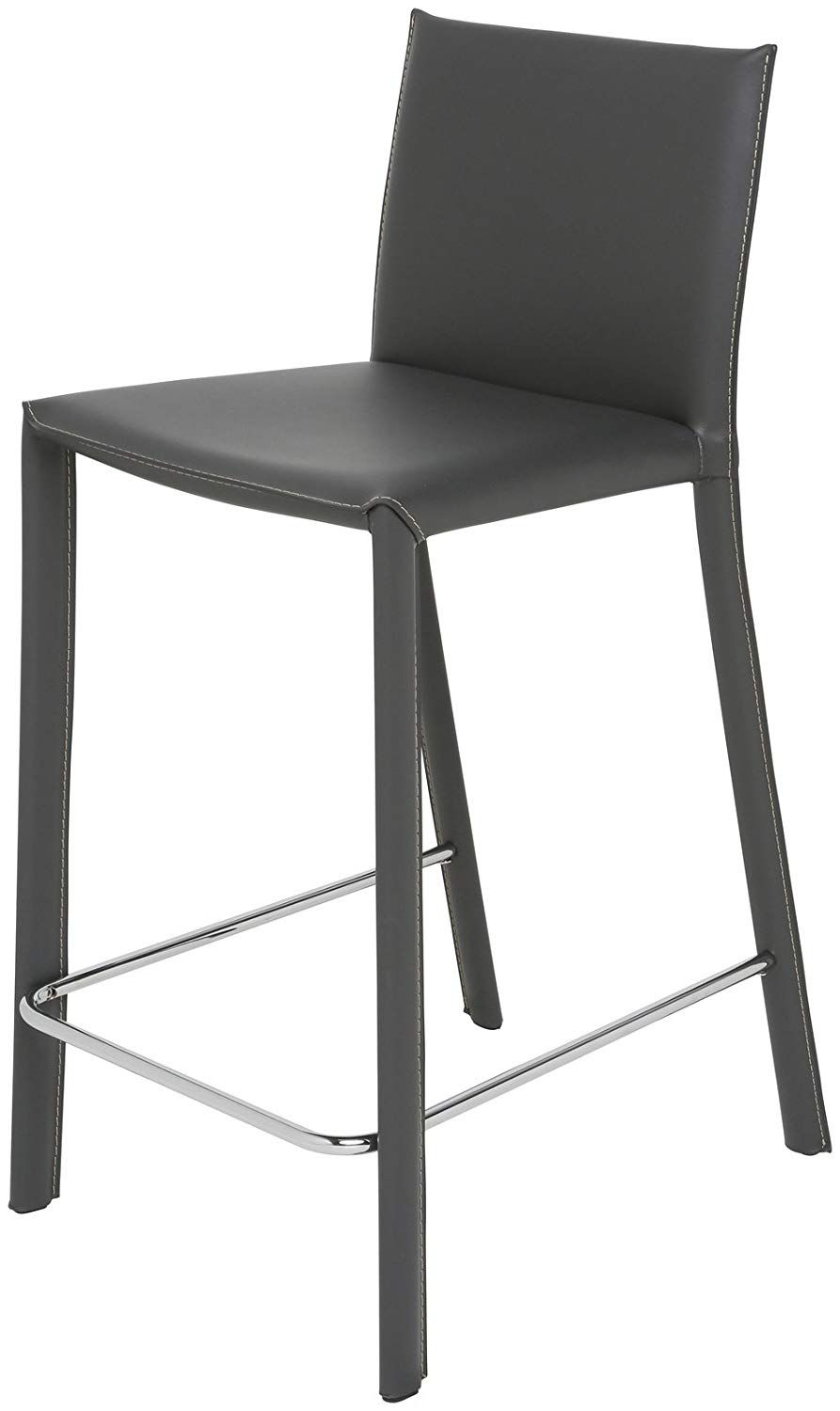 Bridget Counter Stool In Grey Leather By Nuevo Hgaf338