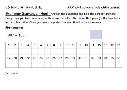 Year 6 Ks2 Maths Arithmetic Paper As A Scavenger Hunt Ks2 Maths Arithmetic Math