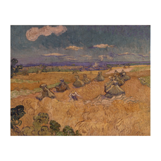 Wheat Fields with Reaper by Vincent Van Gogh Cork Paper