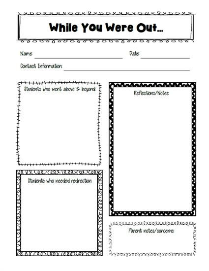 Free substitute teacher report template substitute teacher substitute teacher freebie pronofoot35fo Choice Image