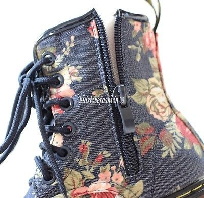 NEW Vintage Baby Girls Toddler Floral Denim Boots 1.5-10 Years 17 Sizes 2 Colors