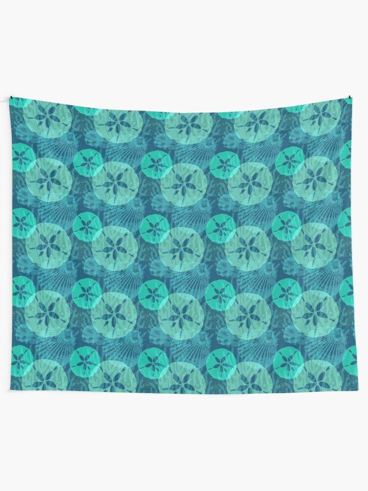 Aqua sand dollars and sea shells on ocean blue tapestry