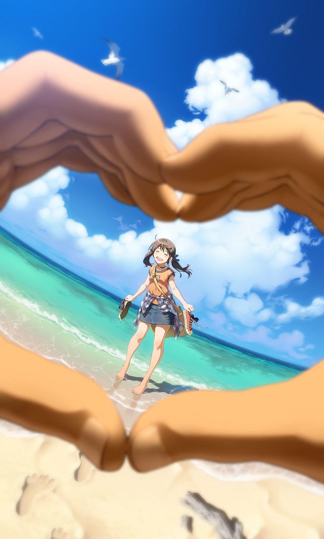 ✮ anime art ✮ summer time. . .beach. . .ocean. . .water. . .sky