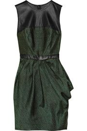 Jason WuLeather-trimmed silk-blend jacquard dress