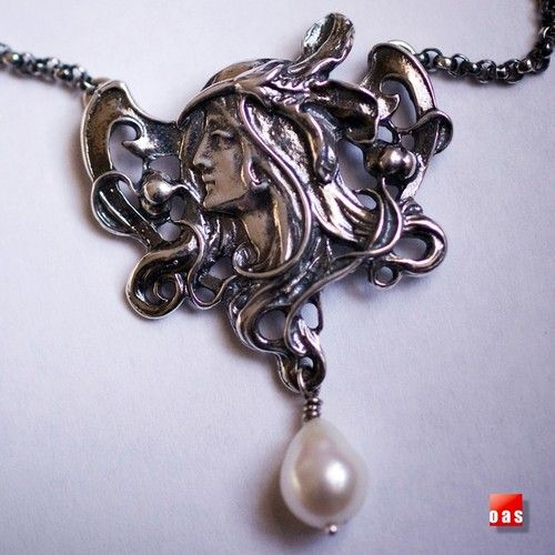 """"""" New"""" Sterling Silver Art Nouveau Maiden Pearl Necklace W/ """" FREE"""" Gift Package $129.35  onesilversmith art studio . new york"""